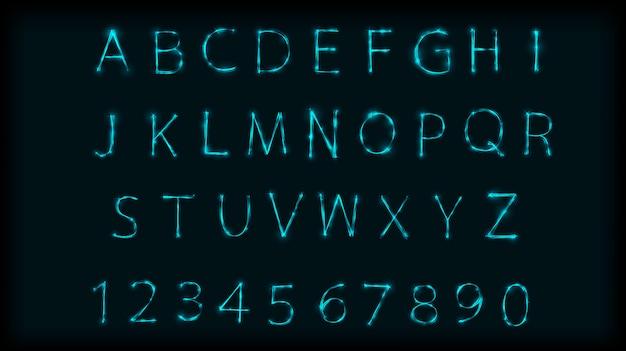 Neonowe litery abc zestaw symboli. zaprojektuj rzymski alfabet i cyfry z efektem neonu