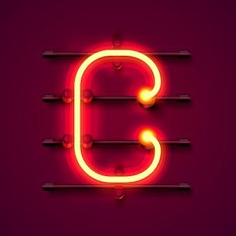 Neonowe litery c, szyld sztuki projektowania. ilustracja wektorowa