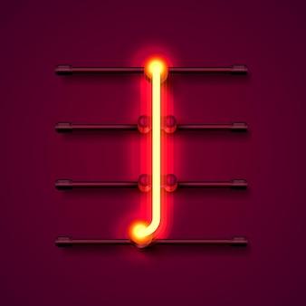Neonowe litery czcionki i, szyld sztuki projektowania. ilustracja wektorowa