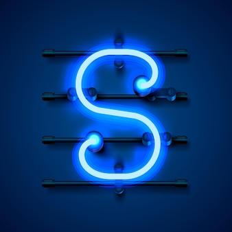 Neonowe litery s, szyld projektu sztuki. ilustracja wektorowa