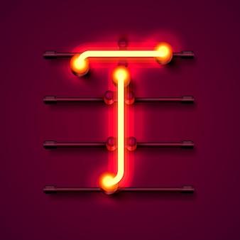 Neonowe litery t, szyld sztuki projektowania. ilustracja wektorowa