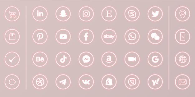 Neonowe media społecznościowe okrągłe świecące ikony na różowym tle