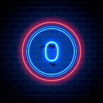 Neonowe miasto znak czcionki numer 0, szyld zero. ilustracja wektorowa
