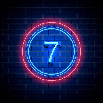 Neonowe miasto znak czcionki numer 7, szyld siedem. ilustracja wektorowa