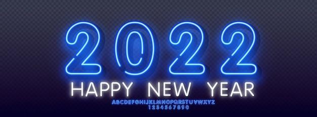 Neonowe pozdrowienie napis szczęśliwego nowego roku 2022 na ciemnym tle uroczysty z alfabetem neonowym. ilustracja wektorowa eps 10