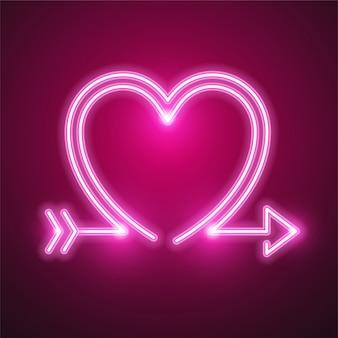 Neonowe serce i strzałka