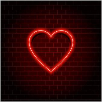 Neonowe serce retro. walentynki. efekt czerwonego neonu
