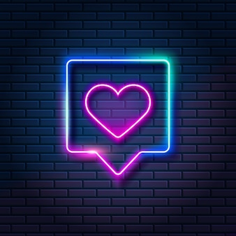 Neonowe serce w dymku na tle ciemnej cegły ściany. świecące jak symbol w ramce, ilustracji wektorowych