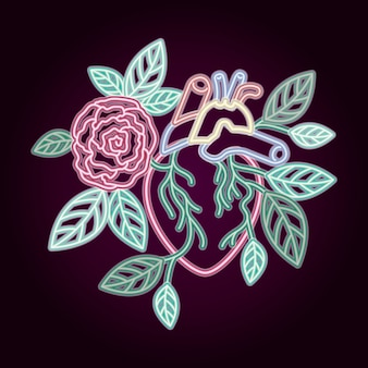 Neonowe serce z dekoracją róż