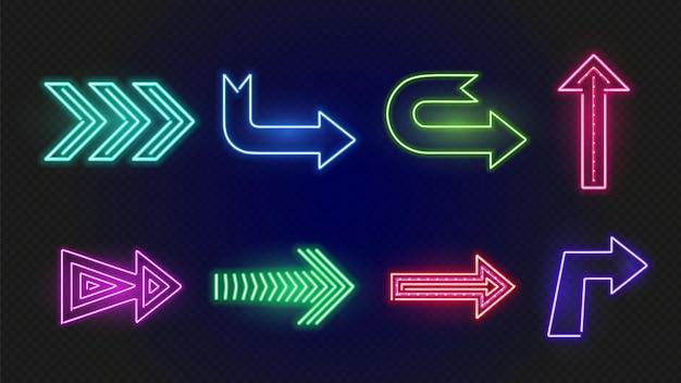 Neonowe strzały. zestaw jasnych świecących strzałek