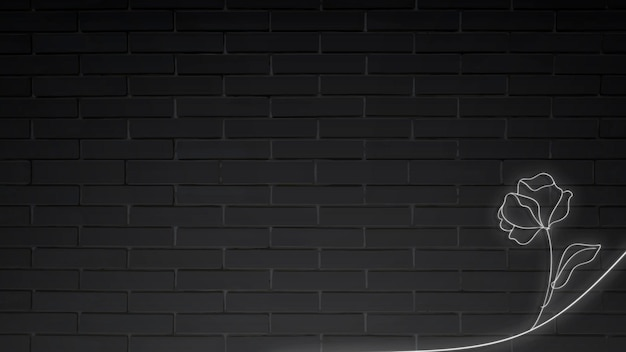 Neonowe światła kwiatowe na wektorze ściany z czarnej cegły