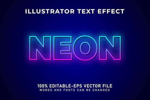 Neonowe światło, edytowalny efekt tekstowy