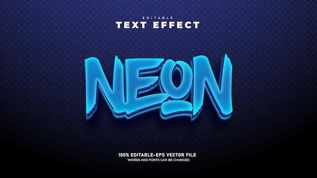 Neonowe światło miasta edytowalny szablon 3d efekt tekstowy wektor premium