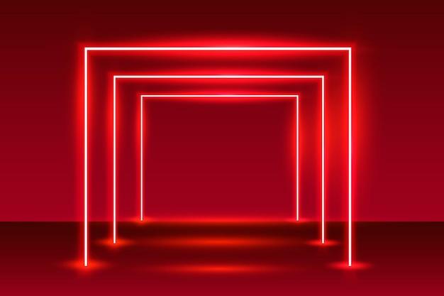 Neonowe światło podium na czerwonym tle.