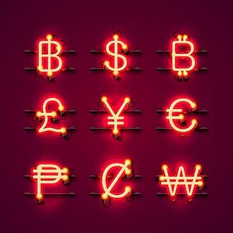 Neonowe symbole waluty ustawione na czerwonym tle. ilustracja wektorowa