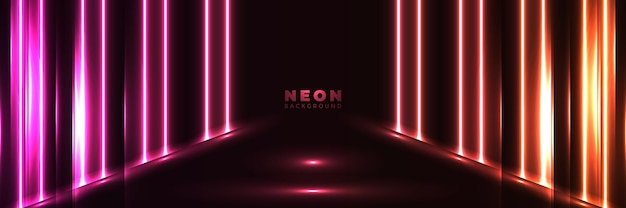 Neonowe tło streszczenie świecący sztandar z niebieskim fioletowym korytarzem neon.