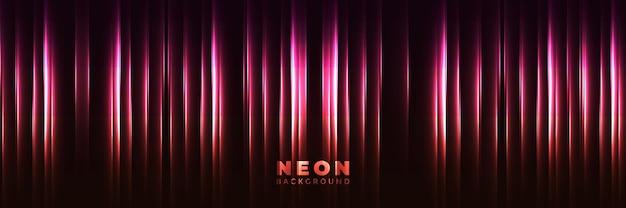 Neonowe tło streszczenie świecący sztandar z niebieskimi fioletowymi neonowymi strzałkami