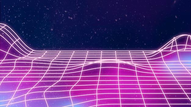 Neonowe tło synthwave z przestrzenią projektową