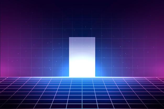 Neonowe tło w stylu lat 80., ilustracja siatki laserowej z podłogą i błyszczące białe drzwi. streszczenie wnętrze klubu dyskotekowego z gwiezdnym niebem, szablon plakatu dla vaporwave, styl muzyki synthwave.