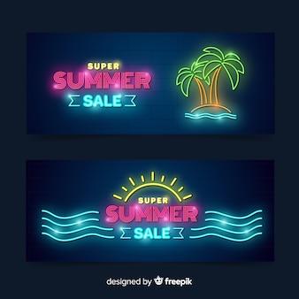Neonowe transparenty sprzedaży letnich