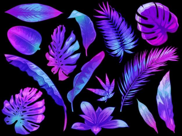 Neonowe tropikalne liście. kolor egzotycznych drzew i liści roślin, kolorowe liście palmowe ręcznie rysowane zestaw ilustracji.