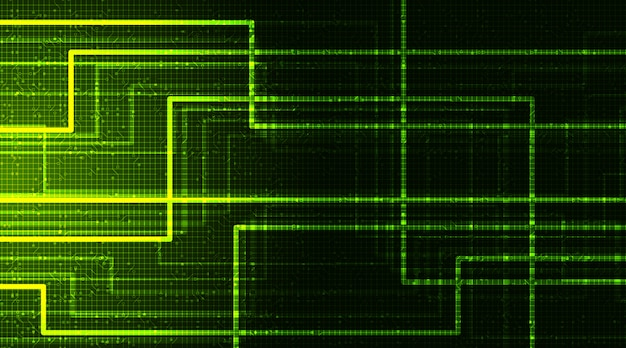 Neonowe zielone tło technologii cyfrowej, koncepcja hi-tech i sieci
