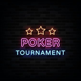 Neonowe znaki turnieju pokera.