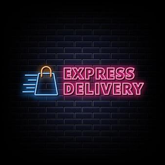 Neonowe znaki z logo dostawy ekspresowej