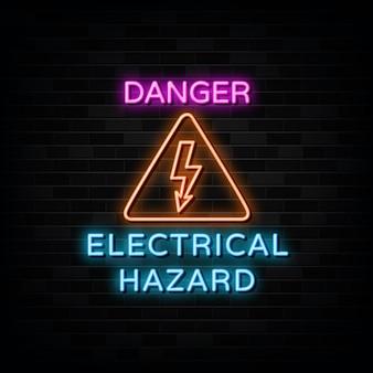 Neonowe znaki zagrożenia elektrycznego szablon projektu neon style