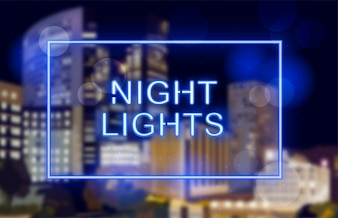 Neonowi światła nad nocy miasta tłem