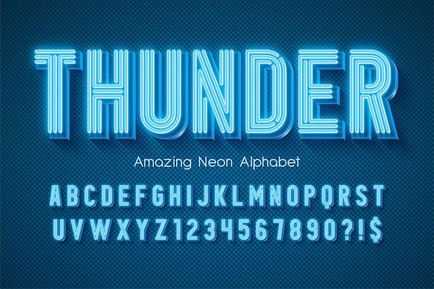 Neonowy alfabet, bardzo świecący nowoczesny typ. kontrola koloru próbki.