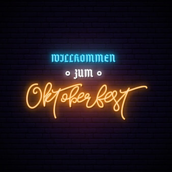 Neonowy baner oktoberfest