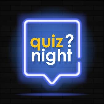 Neonowy baner quizu świecący znak zapytania kolorowy neon banner na ścianie z cegły realistyczny jasny szyld nocny błyszczący efekt neonu