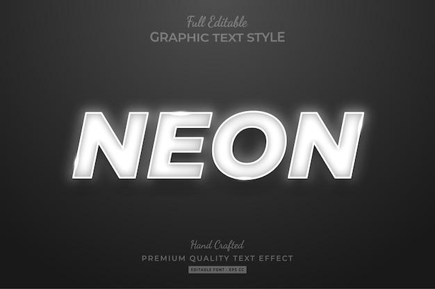 Neonowy biały efekt edytowalnego stylu tekstu