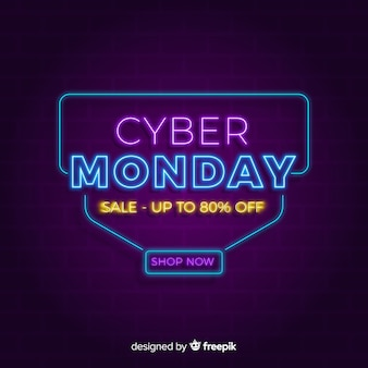 Neonowy cyber poniedziałku tło