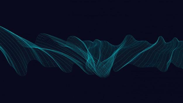 Neonowy cyfrowej fala dźwiękowa tło