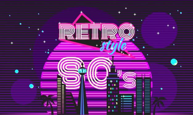 Neonowy dyskotekowy styl retro z lat 80