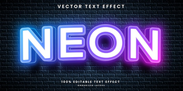 Neonowy edytowalny efekt tekstowy w stylu premium vector