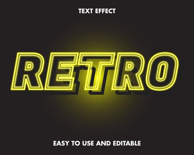 Neonowy efekt tekstowy retro.