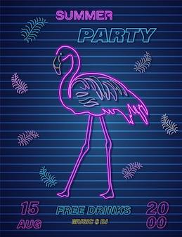 Neonowy flamingowy lato zwrotnika sztandar