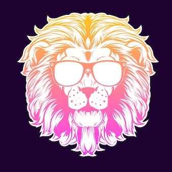 Neonowy lew w okularach