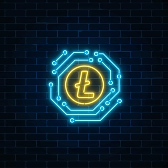 Neonowy litecoin waluty znak z obwodem elektronicznym. godło kryptowaluty na tle ciemnej cegły ściany.
