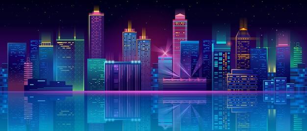 Neonowy megapolis tło z budynkami, drapacze chmur