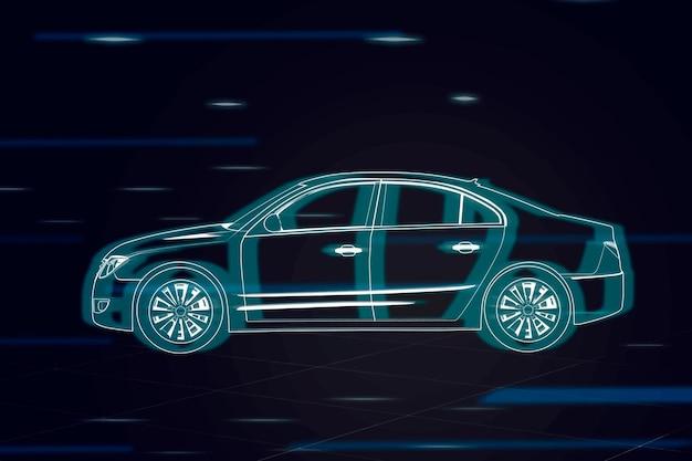 Neonowy niebieski samochód sedan sedan