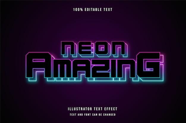 Neonowy niesamowity, edytowalny efekt tekstowy 3d różowa gradacja fioletowy niebieski nowoczesny styl neon