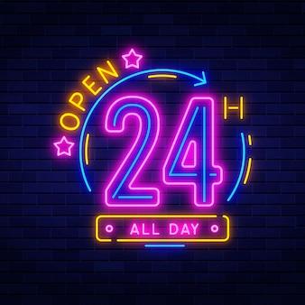 Neonowy otwarty 24-godzinny znak świecący