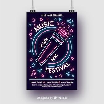 Neonowy plakat muzyczny szablon