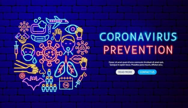 Neonowy projekt banera zapobiegający koronawirusowi. ilustracja wektorowa promocji medycznej.