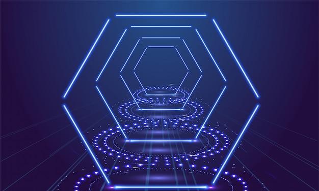 Neonowy przedstawienie światła podium błękita tło. ilustracji wektorowych