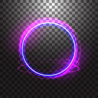Neonowy rękawiczkowy pierścionek na przezroczystym tle. niebieski okrągły efekt świetlny.